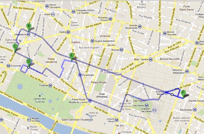 План нашей прогулки по Парижу в Рождество