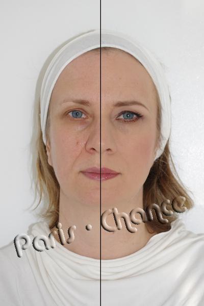 Омолаживающий макияж выполнен на пол лица