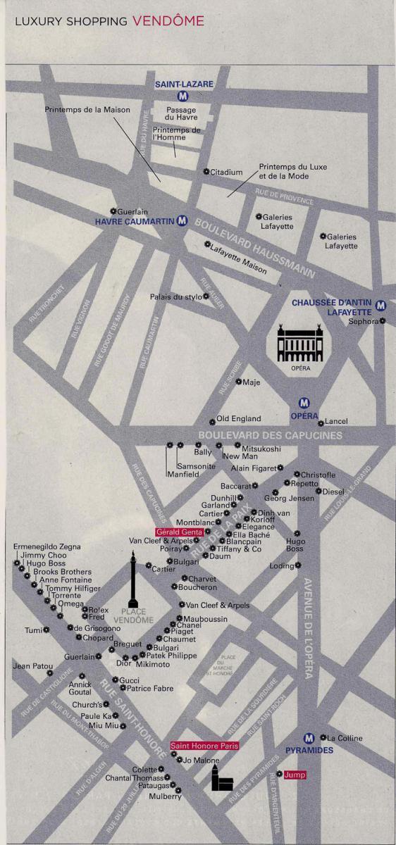 Карта ювелирных бутиков площади Vendome